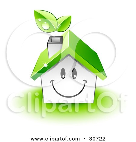 Clipart Illustration of a Friendly Smiling House Character With A Green Roof And Leaves Emerging From The Chimney by beboy