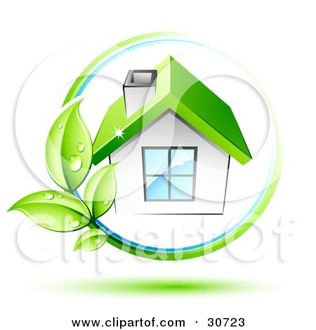 Clipart Illustration of a Vine With Dewy Green Leaves Circling A White House With A Chimney And Green Roof by beboy