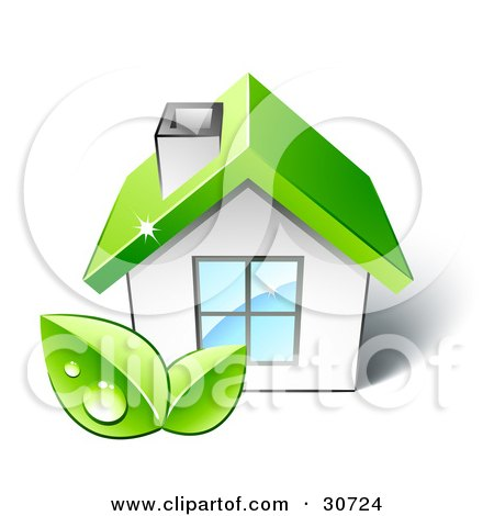 Clipart Illustration of Two Dewy Green Leaves In Front Of A Small White Home With A Big Window And A Green Roof by beboy