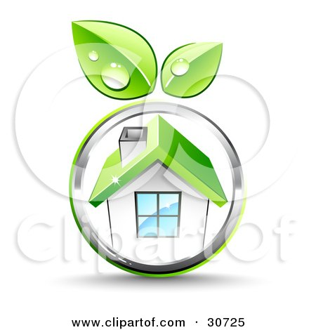 Clipart Illustration of Green Leaves Growing On A Chrome Circle Around A White House With A Green Roof by beboy