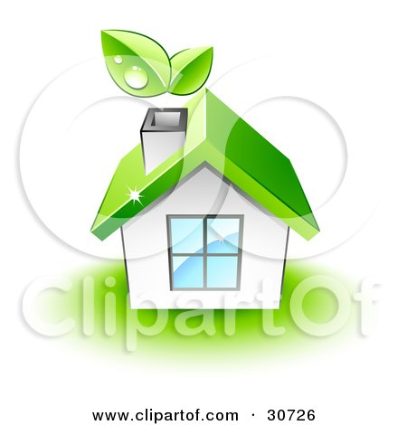 Clipart Illustration of Dewy Leaves Above The Chimney Of A White Home With A Green Roof by beboy