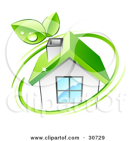 Clipart Illustration of a Green Circle With Dewy Leaves, Around An Eco Friendly White House With A Green Roof by beboy