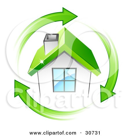 Clipart Illustration of a Circle Of Green Arrows Around A Small White House With A Green Roof by beboy