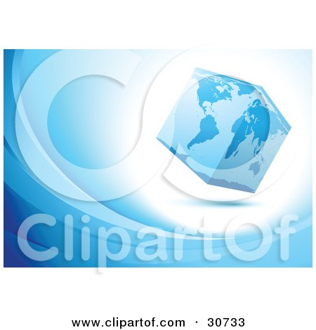 Clipart Illustration of a Cubed Globe Of Planet Earth On White, On A Blue Background Of Waves by beboy