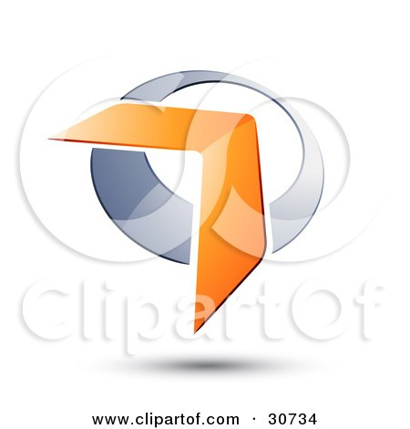 Clipart Illustration of an Orange Boomerang Or Arrow Over A Chrome Circle, With A Shadow by beboy