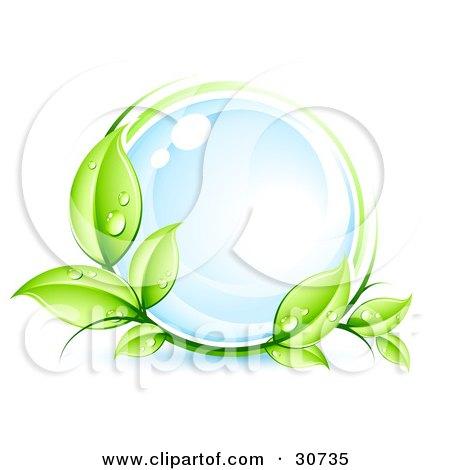 Green Organic Dewy Vine Circling A Glassy Blue Orb Posters, Art Prints