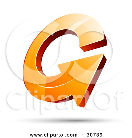 Clipart Illustration of a 3d Orange Arrow Circling Over A Shadow by beboy