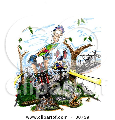 Clipart Illustration of a Dirty, Nervous, Sweaty Male Caucasian Mountain Biker Riding Downhill Between Trees, Near A Rattlesnake, His Opponents Clumsily Following Behind by Spanky Art
