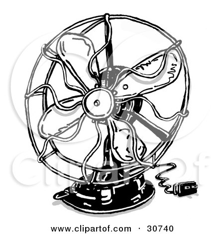 Clipart Illustration of a Small Electrical Fan With The ...