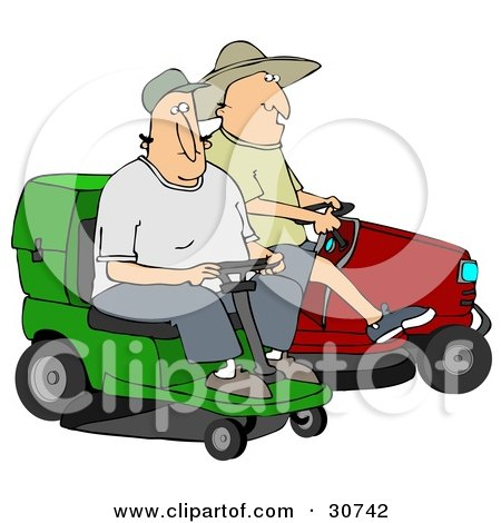 Clipart Illustration of Two Guys Operating Green And Red Riding Lawn Mowers by djart