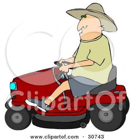 Clipart Illustration of a White Man In A Sun Hat, Driving A Red Riding Lawn Mower by djart