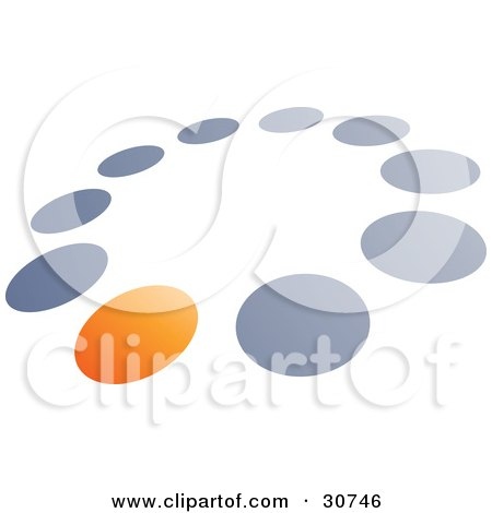 Clipart Illustration of a Pre-Made Logo Of One Orange Dot In A Circle Of Blue And Gray Dots by beboy