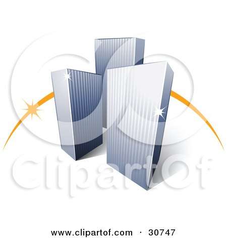 Clipart Illustration of a Pre-Made Logo Of An Orange Dash Behind Three Tall City Skyscrapers by beboy