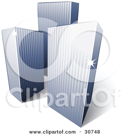 Clipart Illustration of a Pre-Made Logo Of Three Tall City Skyscrapers by beboy