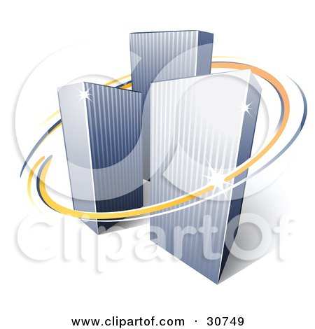 Clipart Illustration of a Pre-Made Logo Of Orange And Blue Lines Circling Three Tall City Skyscrapers by beboy