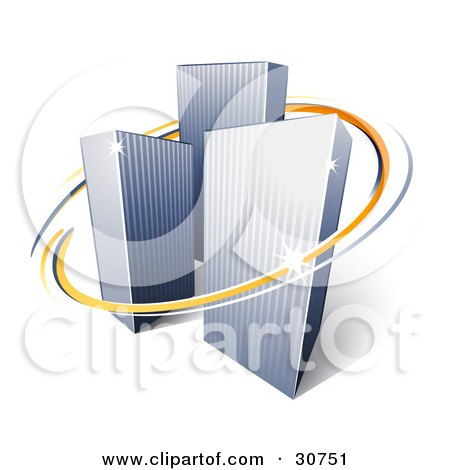 Clipart Illustration of Orange And Blue Circles Around Urban City Skyscrapers by beboy