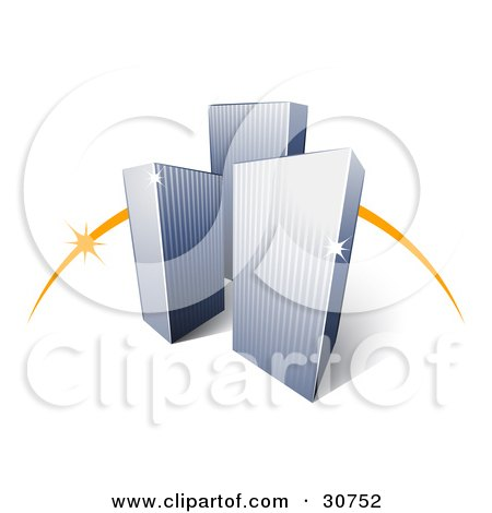 Clipart Illustration of Three City Skyscraper Buildings In Front Of An Orange Dash by beboy
