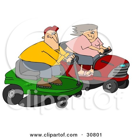 White Couple, A Man And Woman, Racing Eachother On Riding Lawn Mowers Posters, Art Prints
