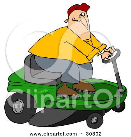 Clipart Illustration of a White Guy Biting His Lip While Steering A Green Riding Lawn Mower In A Race by djart