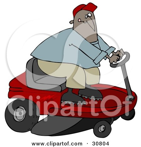 Clipart Illustration of a Black Guy Biting His Lip While Steering A Red Riding Lawn Mower In A Race by djart