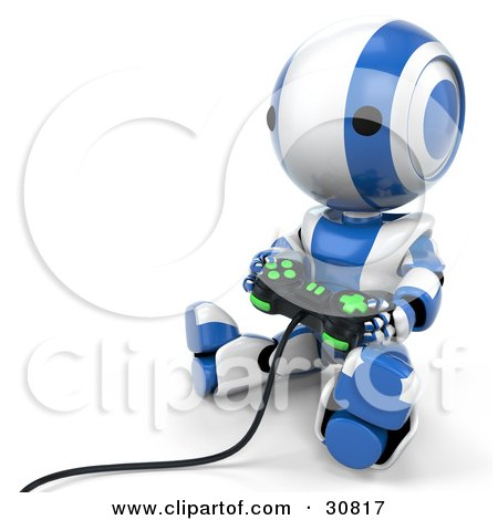 Clipart Illustration of a Blue AO-Maru Robot Sitting On The Floor And Playing A Video Game With A Controller by Leo Blanchette