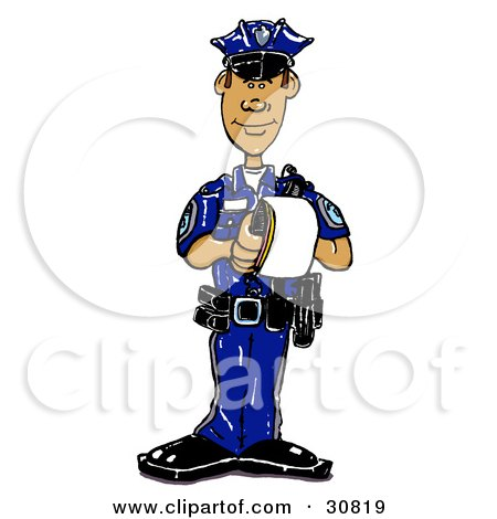Clipart Illustration of a Hispanic Male Cop In A Blue Uniform, Standing And Issuing A Warning Or Ticket While On Patrol by Spanky Art