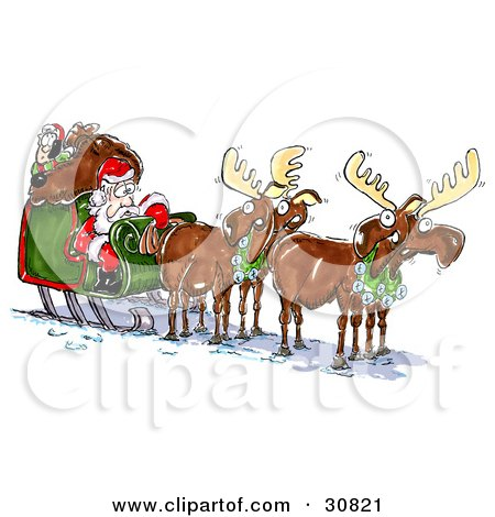 Clipart Illustration of an Annoyed Elf Resting On Santa's Toy Sack As They Try To Get The Outsourced Mooses To Move The Sleigh by Spanky Art
