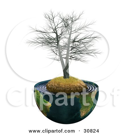 Royalty-free ecology clipart picture of a dead realistic 3D tree on