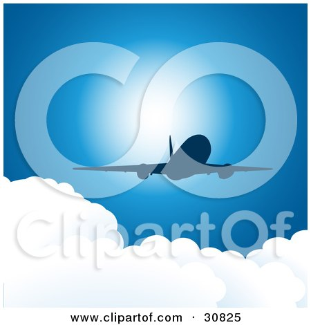 Clipart Illustration of a Silhouetted Commercial Airplane Flying Above Puffy White Clouds In A Blue Sky With Sunlight by elaineitalia