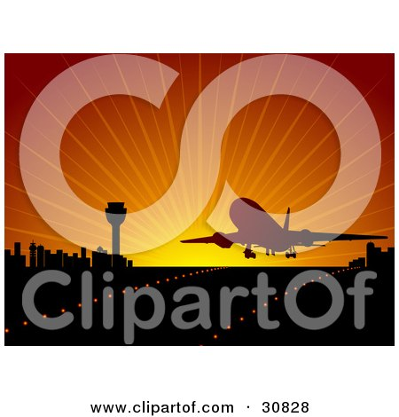 Clipart Illustration of a Commercial Airliner Silhouetted Against A Red Sunset While Landing Or Departing On A Runway Near A City Skyline by elaineitalia