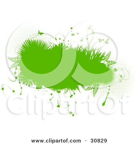 Clipart Illustration of an Abstract Green Grunge Background Of A Text Box Bordered In Ferns, Plants, Grasses And Butterflies, Over White With Grunge Dots by elaineitalia