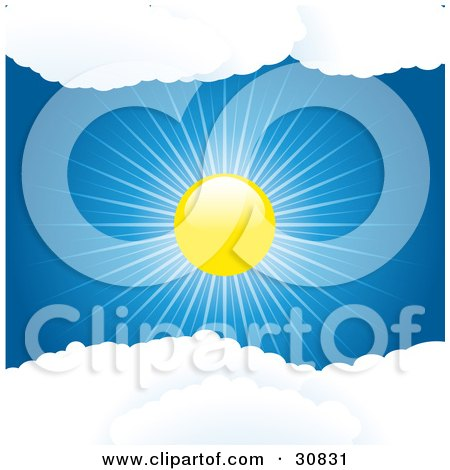 Clipart Illustration of a Brightly Shining Sun Casting Rays Of Light In A Blue Sky, Between Puffy White Clouds by elaineitalia