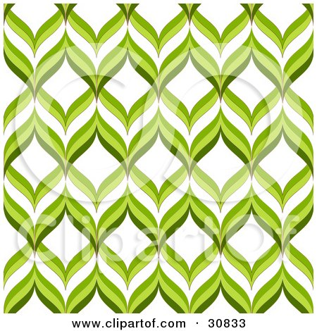Clipart Illustration of a Retro Green And White Repeat Background Of Green Waves Or Leaves by elaineitalia