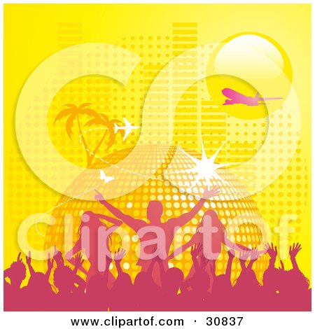 Clipart Illustration of a Pink Silhouetted Crowd Partying In Front Of A Yellow Disco Ball Planet With Palm Trees, Butterflies, A Plane, And Equalizer Bars Under A Yellow Sun by elaineitalia