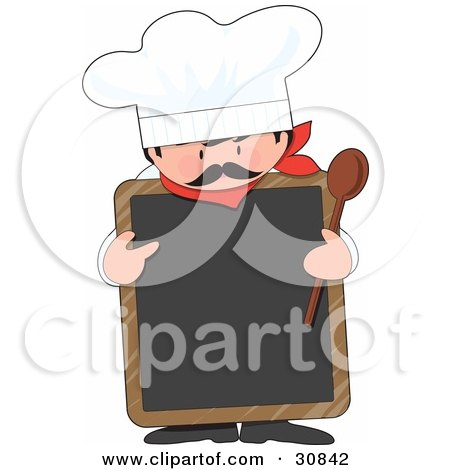 Clipart Illustration of a Male Chef With A Mustache, Wearing A Hat And Holding A Wood Spoon While Pointing To A Blank White Chalkboard by Maria Bell