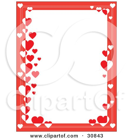 Clipart Illustration of a White Stationery Background Bordered With Red And White Hearts by Maria Bell