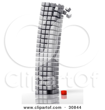 Clipart Illustration of a 3d Rendered Single Red Cube At The Bottom Of A Crumbling Tower Of White Cubes by Tonis Pan