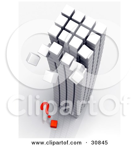 Clipart Illustration of a 3d Rendered Tower Made Of White Cubes, Toppling Over Onto A Red Question Mark And Cube by Tonis Pan