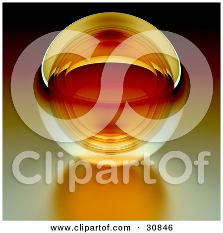 3d Rendered Orange Transparent Glass Crystal Ball Or Orb On A Reflective Surface Posters, Art Prints
