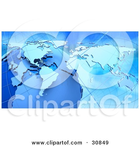 Clipart Illustration of a 3d Rendered Globe, Grids And Atlas Map In Blue by Tonis Pan