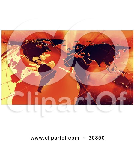 Clipart Illustration of a 3d Rendered Globe, Grids And Atlas Map In Red And Orange by Tonis Pan