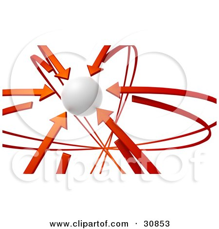 Clipart Illustration of a 3d Rendered White Orb Circled By Red Arrows by Tonis Pan