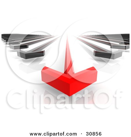 Clipart Illustration of a 3d Rendered Race Between A Leading Red Arrow And Black Arrows by Tonis Pan