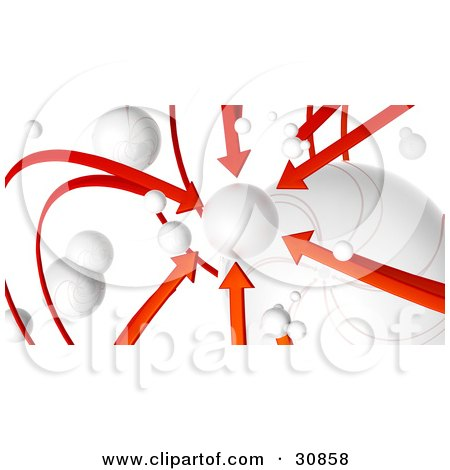 Clipart Illustration of a 3d Rendered Network Of Red Arrows And White Orbs, All Arrows Pointing To One Planet by Tonis Pan