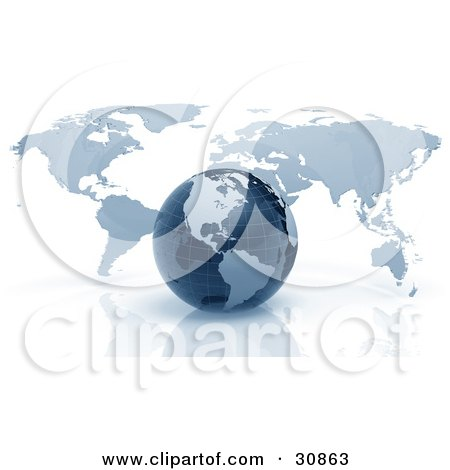 Clipart Illustration of a 3d Rendered Navy Blue Grid Globe In Front Of A Flat Atlas Map by Tonis Pan