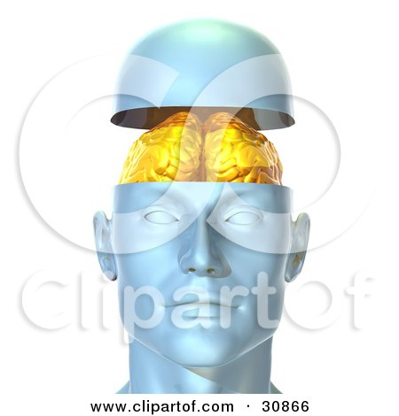 Clipart Illustration of a 3d Rendered Head Opening Up To Display A Golden Brain by Tonis Pan