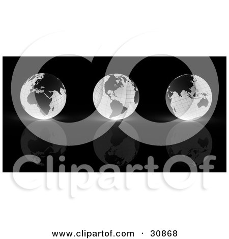 Clipart Illustration of a 3d Rendered Line Of Three Black And White Grid Globes Reflecting On A Black Surface by Tonis Pan