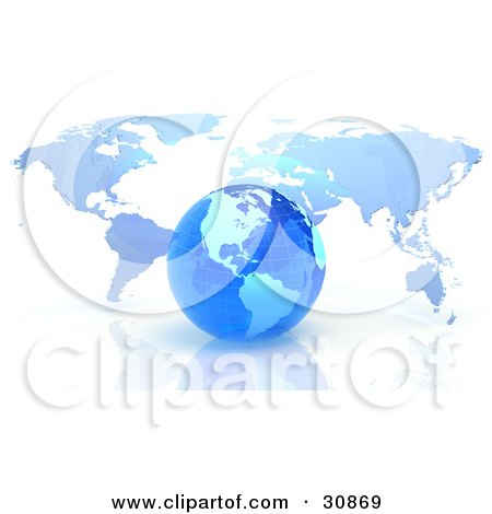 Clipart Illustration of a 3d Rendered Blue Grid Globe In Front Of A Flat Atlas Map by Tonis Pan