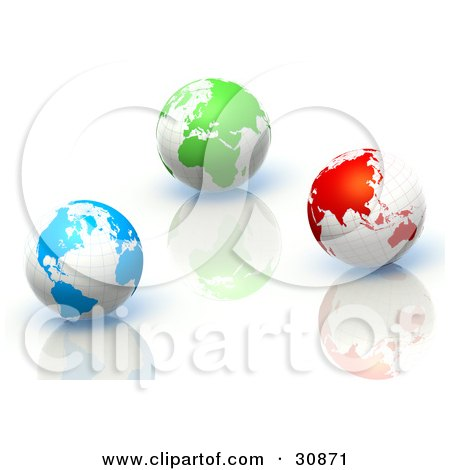 3d Rendered Blue, Green And Red Globes On Reflective Surfaces Posters, Art Prints