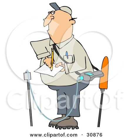 Clipart Illustration of a White Guy Taking Notes While Inspecting A Gas Leak by djart